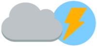 Eine graue Wolke neben einem Stromsymbol