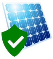 Ein blaues Photovoltaikpanel mit grünem Schild und Haken