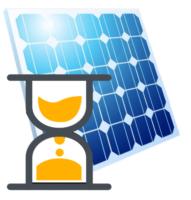 Eine Sanduhr neben einem Solarpanel