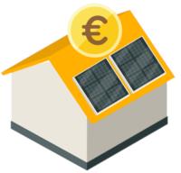 Ein orangenes Haus mit PV-Anlage und Euro Münze