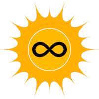 Eine gelbe Sonne mit Symbol der Unendlichkeit