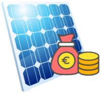 Ein blaues PV-Modul mit Geld Symbol