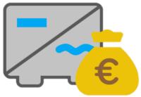 Ein grauer Wechselrichter mit Geld Symbol