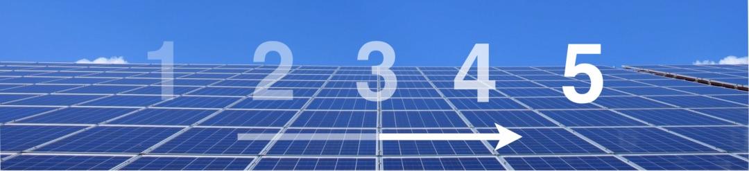 Eine Solaranlage mit fünf Zahlen, die die Schritte der Anschaffung darstellen
