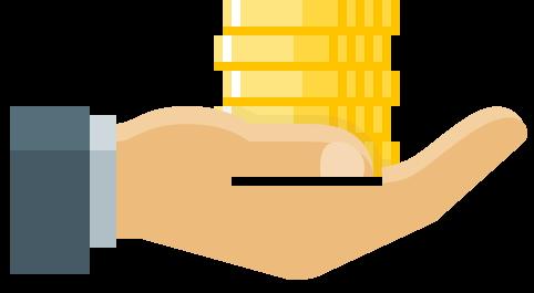 Eine ausgestreckte Hand mit Münzen, die eine Förderung symbolisieren