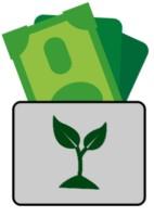 Eine Geldbörse mit grüner Pflanze