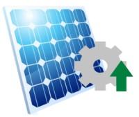 Ein Solarpanel mit Zahnrad und grünem Pfeil, die die Leistung der Anlage symbolisieren