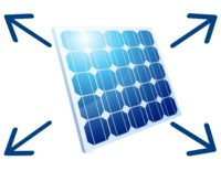 Ein Solamodul mit vier Dimensionspfeilen, die die Größe einer Solaranlage darstellen