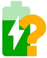 Eine grüne Solarbatterie mit Fragezeichen