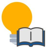 Eine gelbe Glühbirne mit Buch