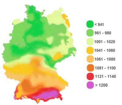 Eine Deutschlandkarte, auf der die Sonnenstunden regional farblich markiert sind