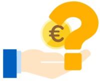 Eine Hand mit Euromünze und Fragezeichen