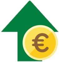 Ein gründer Pfeil mit Euromünze