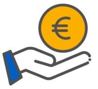 Ein PV-Kredit duch eine Hand und eine Münze symbolisiert