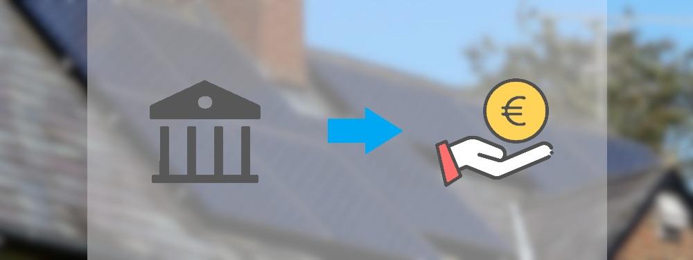Ein Bankensymbol mit Hand und Euromünze, die die PV-Förderung darstellen