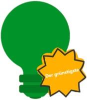 Eine grüne Glühbirne mit Auszeichnung