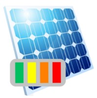 Ein Solarpanel mit Energieleiste