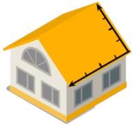 Ein gelbes Haus mit Dimensionen Symbol auf dem Dach