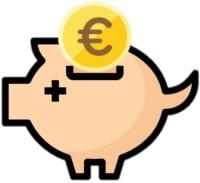 Ein rosanes Sparschwein mit Euromünze