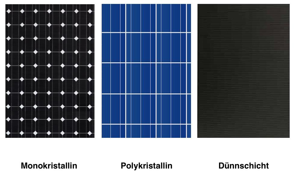 Drei verschiedene Solarmodul Arten nebeneinander