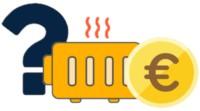 Eine Heizung mit Fragezeichen und Euromünze