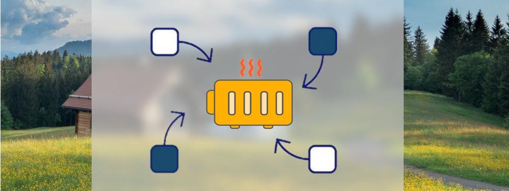 Vier Elemente, die mit Pfeilen auf eine Heizung zeigen