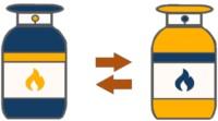 Zwei Gastank Icons nebeneinander, die einen Vergleich darstellen