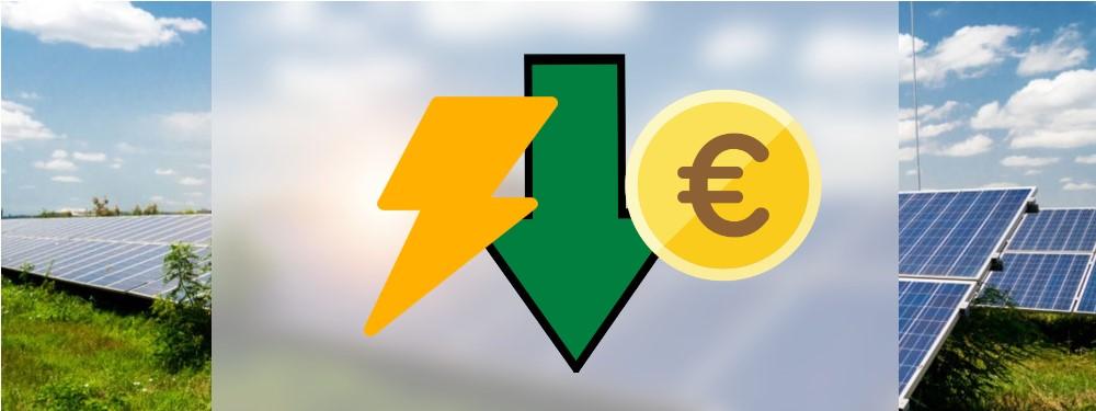 Ein gelber Biltz mit grünem Pfeil und Euromünze, die Energiespartipps symbolisieren