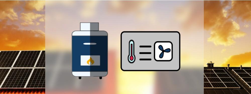 Eine Gasheizung neben einer Wärmepumpe