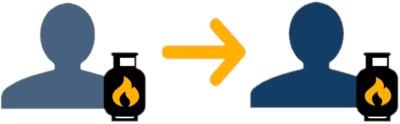 Zwei Gasanbieter Icons nebeneinander