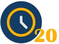 Eine Uhr mit der Zahl 20