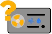 Luft-Wasser-Wärmepumpe Icon mit Fragezeichen