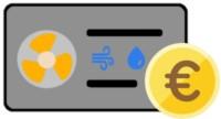 Luft-Wasser-Wärmepumpe Icon mit Euromünze