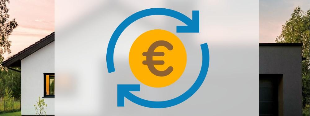 Eine Euromünze mit Betriebskosten Symbol mit Haus im Hintergrund