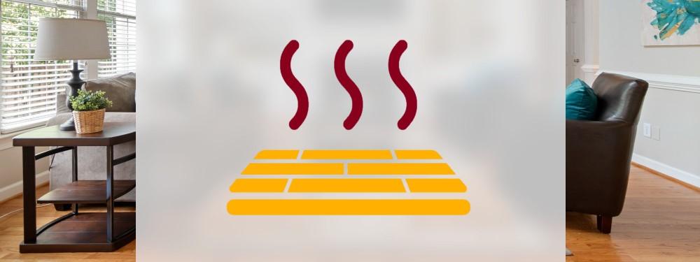 Ein Icon einer Fußbodenheizung mit Wohnung im Hintergrund
