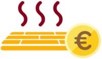 Icon einer Fußbodenheizung mit Euromünze