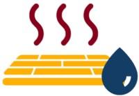 Icon einer Fußbodenheizung mit Wassertropfen