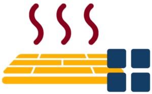 Icon einer Fußbodenheizung mit viel Kacheln
