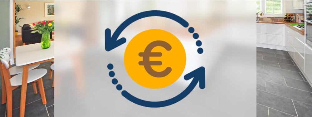 Die Betriebskosten einer Fußbodenheizung durch eine Münze und Pfeile dargestellt