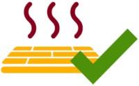 Icon einer Fußbodenheizung mit grünem Haken