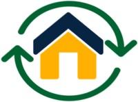 Haus mit grünen Pfeilen