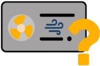 Icon einer Luft-Luft-Wärmepumpe mit Fragezeichen
