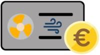 Icon einer Luft-Luft-Wärmepumpe mit Euromünze