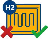 Icon einer Brennstoffzellenheizung mit rotem Kreuz und grünem Haken