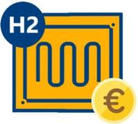 Icon einer Brennstoffzellenheizung mit Euromünze