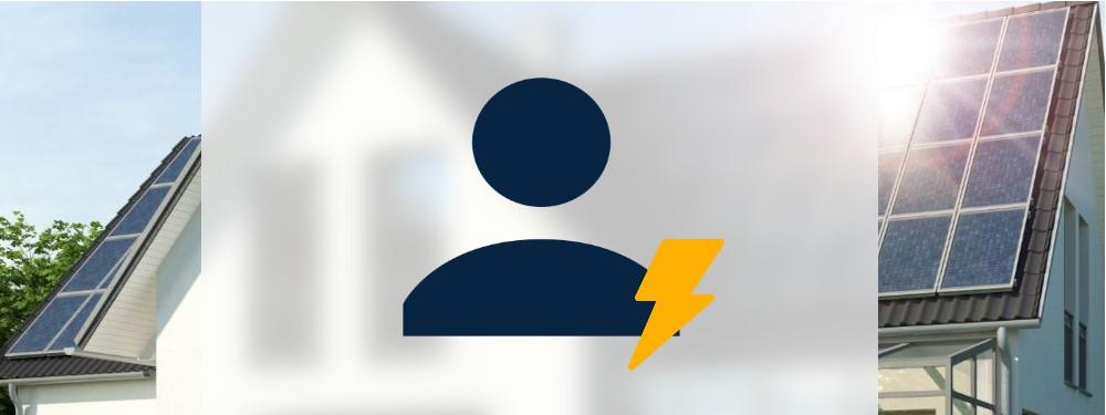 Eine Person mit Strom Icon mit Haus im Hintergrund