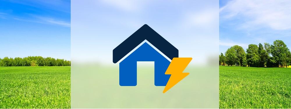 Icon eines Einfamilienhauses mit Strom Symbol