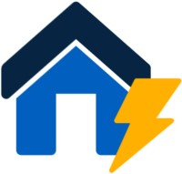 Einfamilienhaus Icon mit Strom Symbol