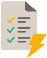 Checkliste mit Stromsymbol