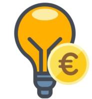 Glühbirne mit Euromünze